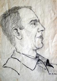 Kreslený portrét Josefa Lánského z vězení (od neznámého spoluvězně)