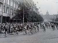 Passing through Wenceslas Square in the Peace Race