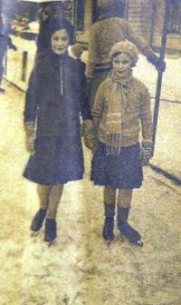 Eva Tauss with her younger sister Marta, Brno, January 1933.