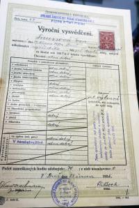 Vysvědčení Evy Taussové ve školním roce 1934-35.