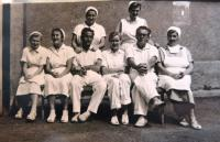 In the hospital in Krč, MUDr. AntonínMoťovič sitting third from left. Prague,  1950´s