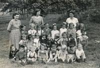 Witness as the second from the left, a single Greek in Těchotín kindergarten, 1957