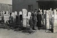 Zdenka Vévodová's parents in front of the Bojkovice house (1936)