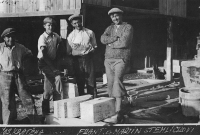 Zdenka Vévodová's father (on the right) with her brother and workers