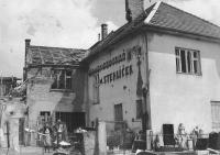 The Stehlíček house in Bojkovice after bombardment (April 1945)