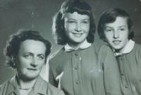 From left mother Anna Šobotová and her daughters Anicka and Helena at the time of my father's imprisonment