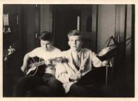 """Předsputnici - Jiří Kos a Ivan Jonáš (with a """"drum"""")   - 1957"""