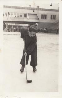 on ice at Zbrojovka, Brno, beginning of 50s