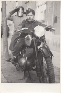 On motorbike with brother Eduard, beginning of 50s