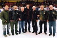 R. Farda's farwell from veterans active career, from left: R. Farda, ?, Jan Havel, ?, Jozef Golonka, ?, Milan Nový, November 2015