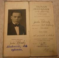 Picture of father, Jaroslav Vrbenský (senior), in a university credit book
