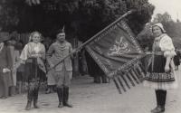Sokol outing in 1948, the witness's mother on the left