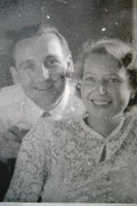 Eva Mádrová with husband in 1950