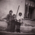 Children in Nýrsko after the war (Johann with the hatchet)